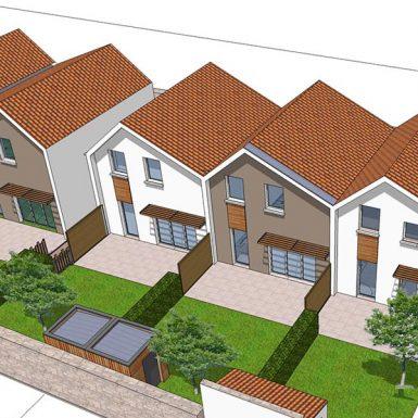 Vue aérienne des maisons individuelles