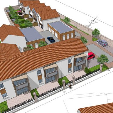 Vue aérienne des maisons individuelles et logements intermédiares