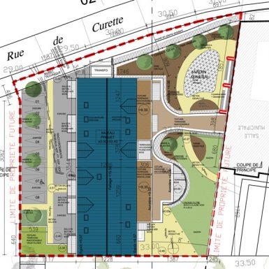Plan de masse des logements et de la médiathèque