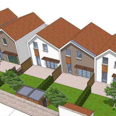 Vue 3D des maisons individuelles à Corsept