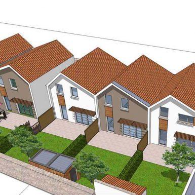 Vue 3D des maison rue de la mairie à Corsept