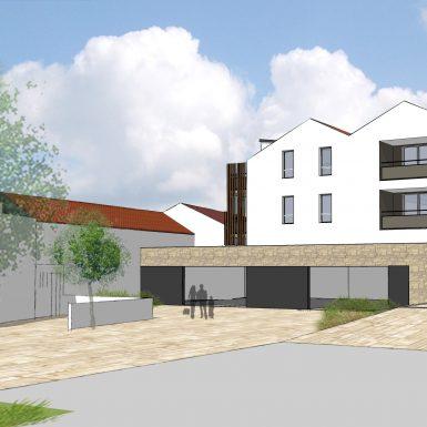 Vue 3D de l ensemble logement et commerces de St Michel chef chef - Plein centre