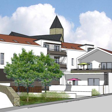 Vue 3D avec église de St Michel chef chef - Plein centre